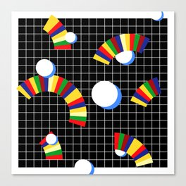 Memphis Grid & Rainbows Canvas Print
