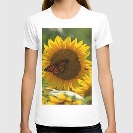 The butterfly the bee and the sunflower T-shirt