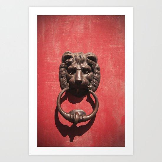 Red Door with Lion head  Art Print