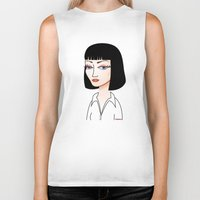 mia wallace Biker Tanks featuring Mia Wallace by Pendientera