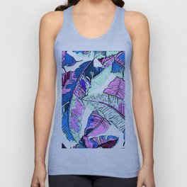 BANANA LEAF PALM PASTEL PINK AND BLUE Unisex Tank Top