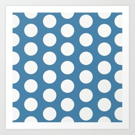 Large Polka Dots on Blue Art Print