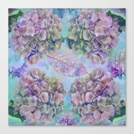 Watercolor hydrangeas and leaves Canvas Print