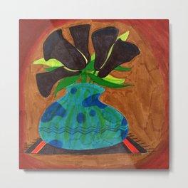 Black Calla Lilies in Blue Vase Metal Print