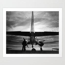 Airplane at sunrise Art Print