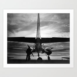 Airplane at sunrise Art Print
