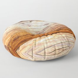 Wooden Log Wall Of A Vintage Cabin Floor Pillow