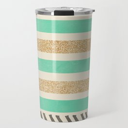 MINT AND GOLD STRIPES AND ARROWS Travel Mug
