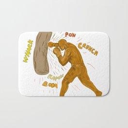 Boxer Hitting Punching Bag Drawing Bath Mat