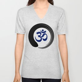 Namaste Zen Circle Meditation Prayer Ohm Aum Om Oum Peace Tai Chi Taiji Unisex V-Neck