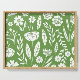 Blooming Field - green Serving Tray