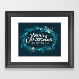 Merry Christmas Blue Framed Art Print