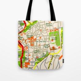 Jerusalem map design Tote Bag
