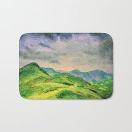 Moody Mountains in the Lake District, England. watercolor painting Bath Mat
