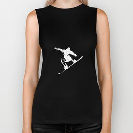 Snowboarding White Abstract Snow Boarder On Black Biker Tank
