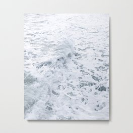 White Abstract Sea Metal Print