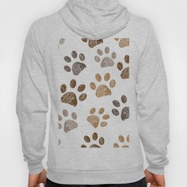 Brown colored paw print background Hoody