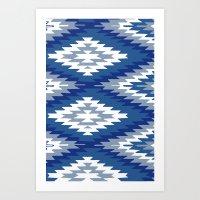 kilim Art Prints featuring Kilim Rug Blue by suzyoconnor