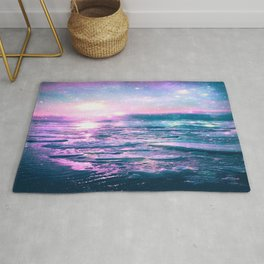 Mystic Waters Vibrant Pink Blue Lavender Rug