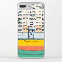 Ball is life - Baseball court Palmtrees Clear iPhone Case