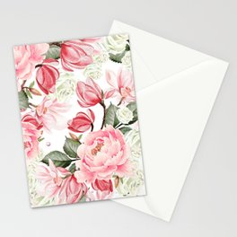 Floral Kingdom Watercolor Painting Pink Red Peony Flowers Painting Green Leaves Floral Design Stationery Cards