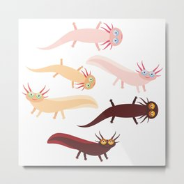 Cute orange pink brown Axolotl Cartoon character (Mexican salamander, Ambystoma mexicanum) Metal Print