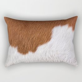 White And Light Brown Cowhide Photography Rectangular Pillow