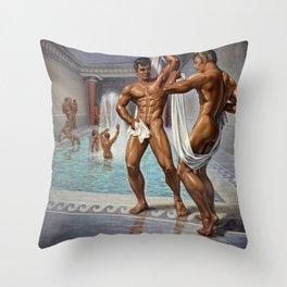 Bathhouse Antics Throw Pillow