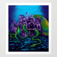 kraken Art Prints featuring Kraken by Katie Bumdesu Whittle