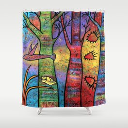 Aspens in an Enchanted Forest with Flying Fish - A Fantastic Journey Shower Curtain
