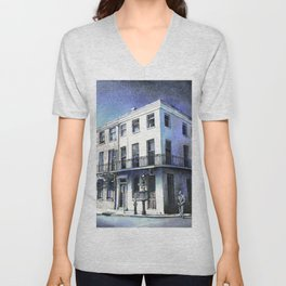 Watercolor painting colonial architecture in French Quarter- New Orleans, Louisiana Unisex V-Neck