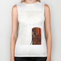 pocket fuel Biker Tanks featuring old fuel pump by Cenk Cansever