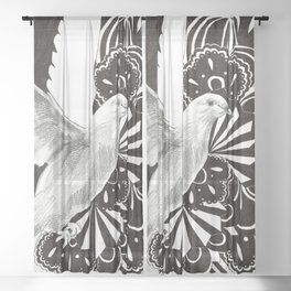 Black Lace Dove Sheer Curtain