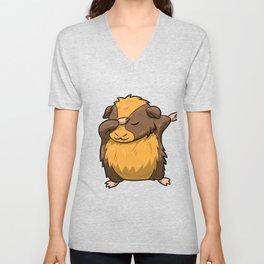Dabbing Guinea Pig Shirt Hamster Cavy Dab Pet Gift Unisex V-Neck