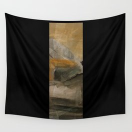 mountain in yellow sky Wall Tapestry