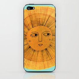 Sun Drawing - Gold and Blue iPhone Skin