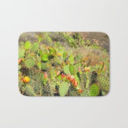 green cactus with red and yellow flower texture background Bath Mat