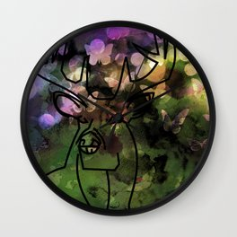 Buck & Butterflies mingle Wall Clock
