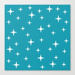 Mid Century Modern Star Pattern 443 Turquoise Canvas Print