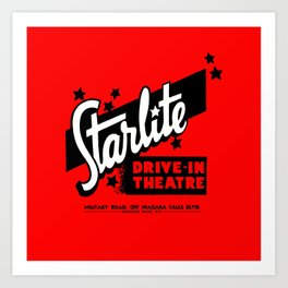 Starlite Drive In Red Art Print