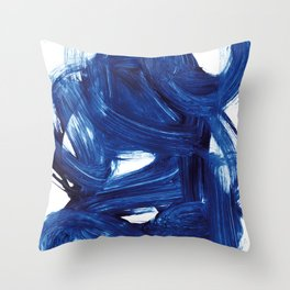 Navy Brush Throw Pillow