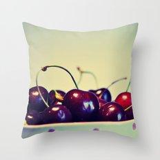 Cherry blues Throw Pillow