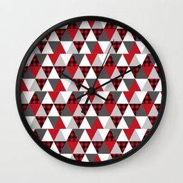 Quilt pattern buffalo check pattern red black and white with grey minimal camping Wall Clock