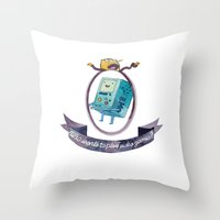 lemongrab Throw Pillows featuring BMO // WHO WANTS TO PLAY VIDEO GAMES? by Connie Cann