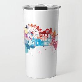 London Fun Cityscape Watercolor Travel Mug