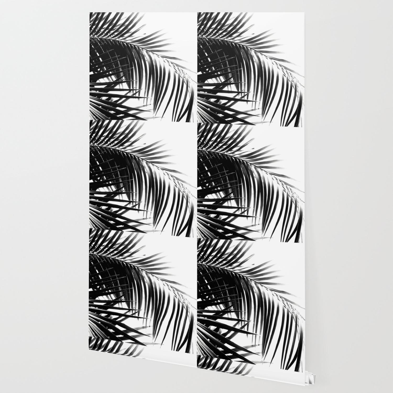 Palm Leaves Black White Vibes 3 Tropical Decor Art Society6 Wallpaper