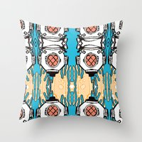 scuba Throw Pillows featuring Scuba Squad by Marc Douglas Weiss