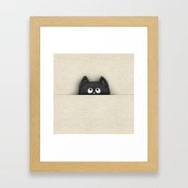 Cute Fluffy Black cat peaking out Framed Art Print