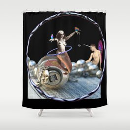 The Fiddlebittery Mermaid Hooper & Her Fairy Unicorn Boy Shower Curtain