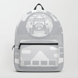 Light Grey digital drawing of a 4x4 adventure vehicle in the mountains Backpack